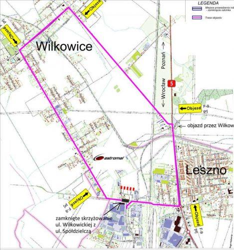 mapa dojazdu - tymczasowy objazd