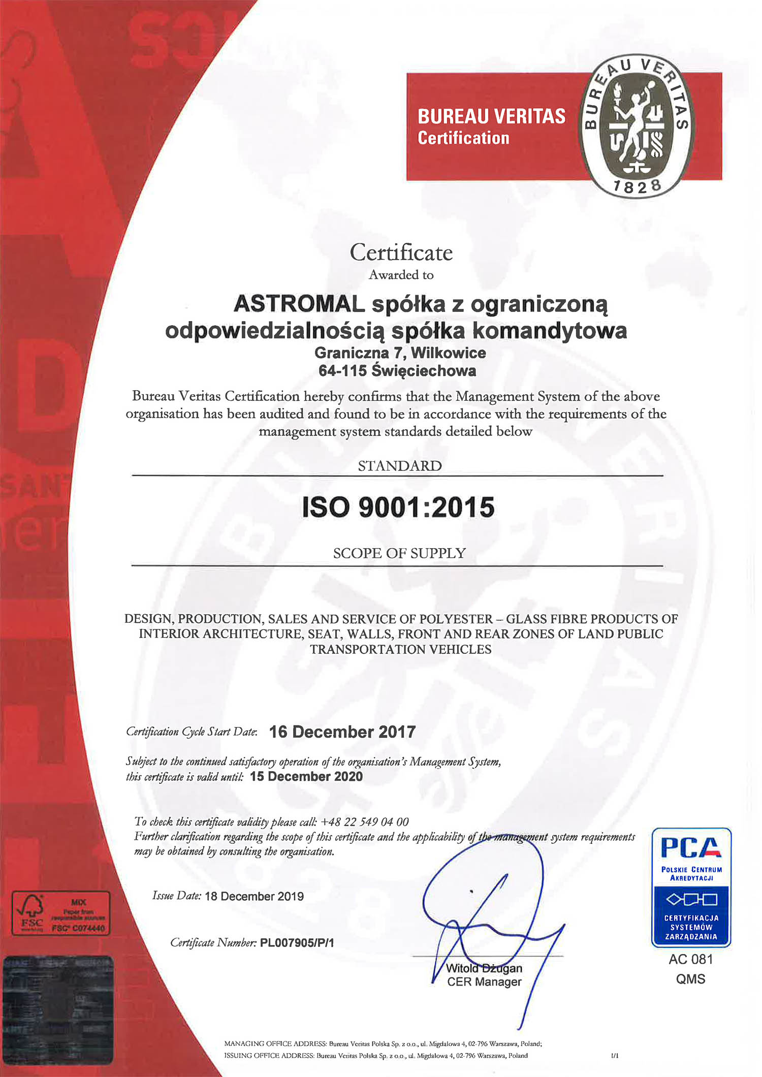 Astromal ISO 9001 certificate