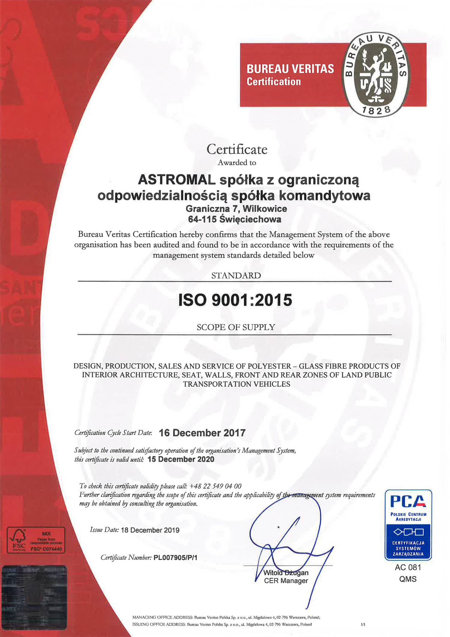 Astromal ISO 9001 certificate