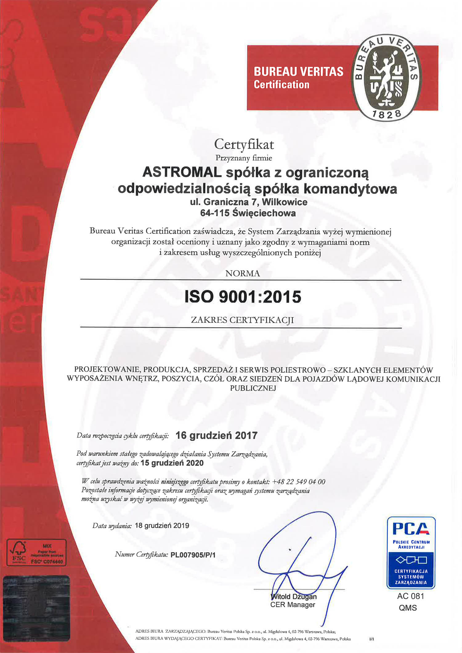 Astromal ISO 9001 certyfikat